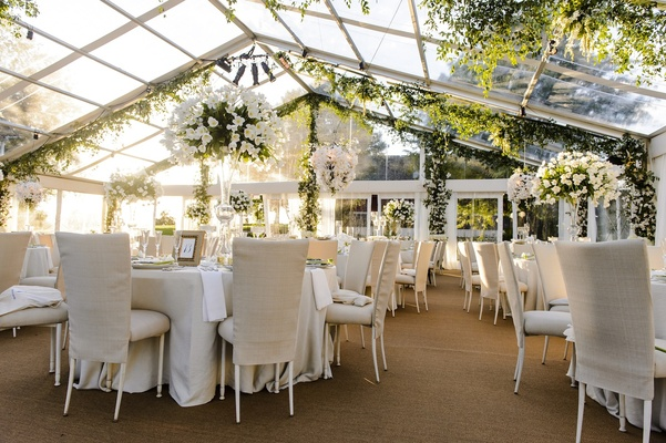 Plexiglass tent wedding with neutral color palette