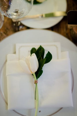 wedding reception place setting china napkin menu card tulip greenery
