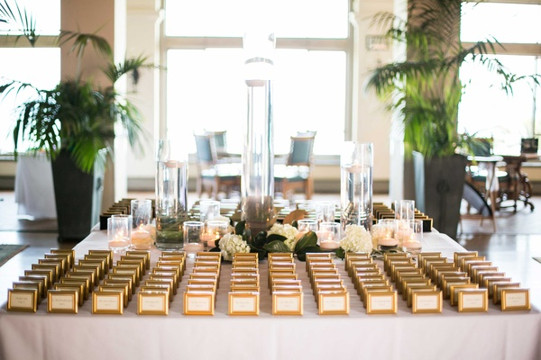 Wedding White Flowers Escort Cards Gold Frames Miniature Small Indoors Southern California