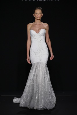 Mark Zunino for Kleinfeld 2016 strapless mermaid wedding dress with moire embroidery