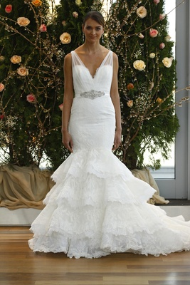 1c01c2c72e3 Strap wedding dress with ruffle mermaid skirt by Isabelle Armstrong.