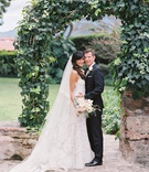 bride in liancarlo spanish lace wedding dress groom in suit bridal veil guatemala wedding destinatio