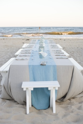 Dinner table on sand