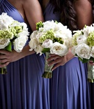 White rose wedding flowers with green hydrangea for bridesmaids
