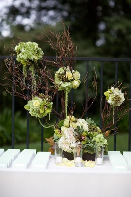 Wedding place card table with an arrangement of branches and green and white flowers