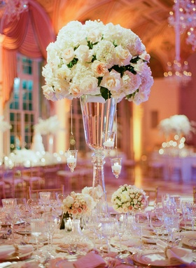 Ballroom reception decor with floating candles