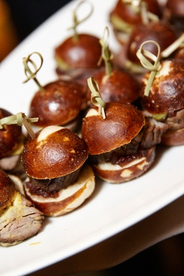 sliders served at wedding cocktail hour
