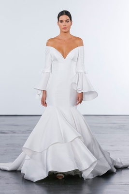 Dennis Basso for Kleinfeld 2018 collection wedding dress off shoulder v neck bell sleeve ruffle gown