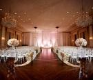 Ballroom wedding chicago wood floor flower petal wall aisle and arrangements chandeliers