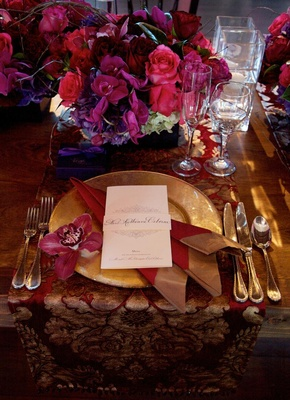 Custom patterned tablecloth with gold charger plate