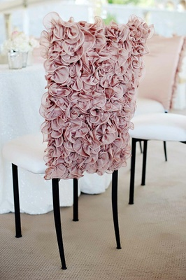 Pink wedding chair cover with ruffled fabric