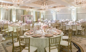 wedding reception ballroom casa del mar blush ivory gold decor hint of blue elegant reception