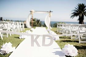 couples initials on ceremony aisle ribbon white outdoor bel-air bay club blocks california ocean