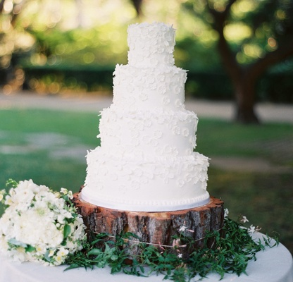 Lovely White Wedding Cake On Top Of Wood Tree Trunk Slab