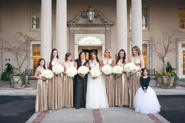 MLB Player's White, Black & Gold NYE Ballroom Wedding In