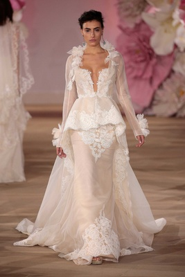 Chic Wedding Dress With Long Sleeve Peplum Overcoat By Ines Di Santo Ciara Lookalike