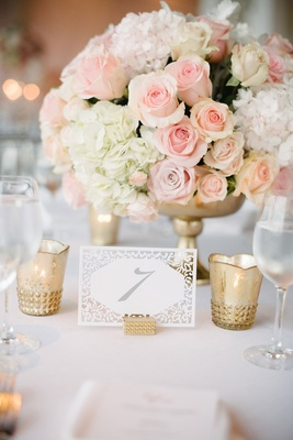 Wedding reception low centerpiece white hydrangea pink rose gold vase gold candle votive white lace