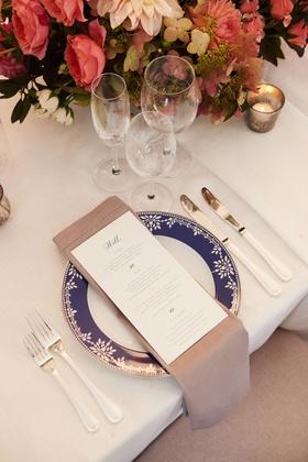 wedding reception pink red hydrangea rose dahlia centerpiece navy blue china plate personalized menu