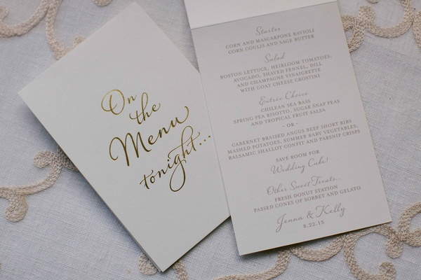 Wedding menu white with gold foil calligraphy on the menu tonight menu selections