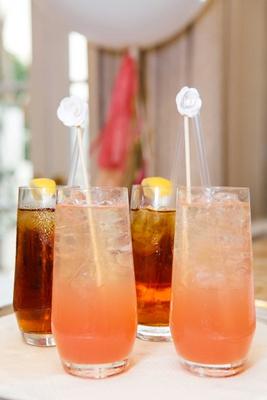 bridal shower beverages drinks pink lemonade and iced tea with lemon white drink stick stirrer