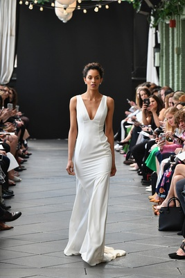 aa5f83de2a Nouvelle Amsale spring 2019 bridal collection wedding dress Sabine v neck  fit and flare gown bodycon.