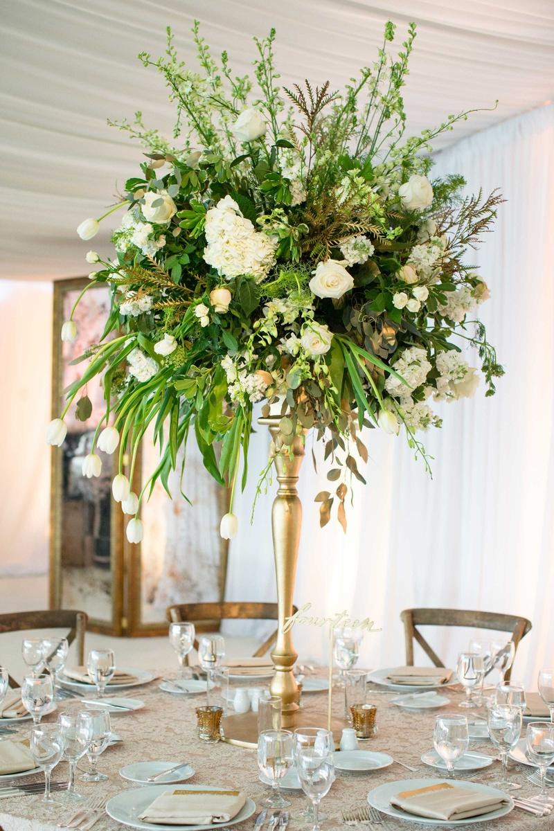Reception décor photos tall green ivory gold