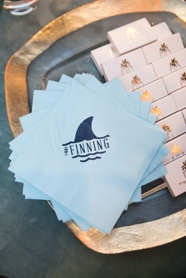 Wedding hashtage napkin light blue with matches #Finning with shark dolphin fin motif design