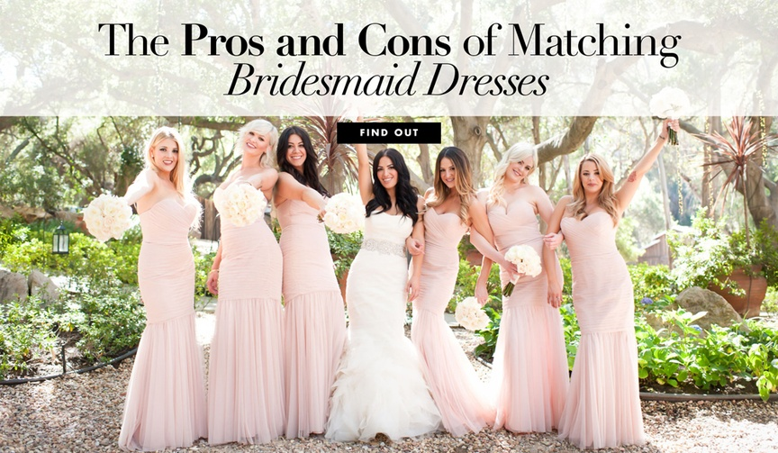 Matching bridesmaid dress pros and cons for your wedding ceremony