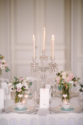 Tablescape with crystal candelabra and taper candles