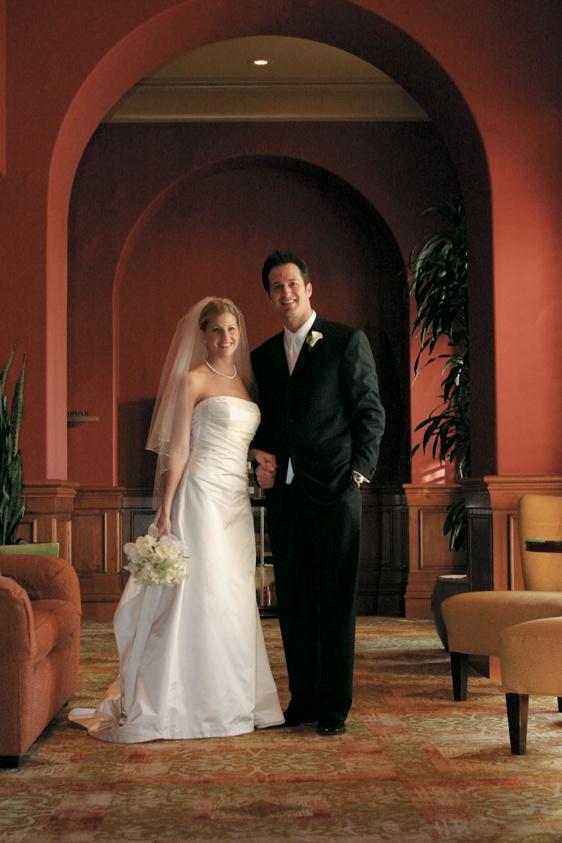 L'ezu Atelier strapless wedding dress and tuxedo