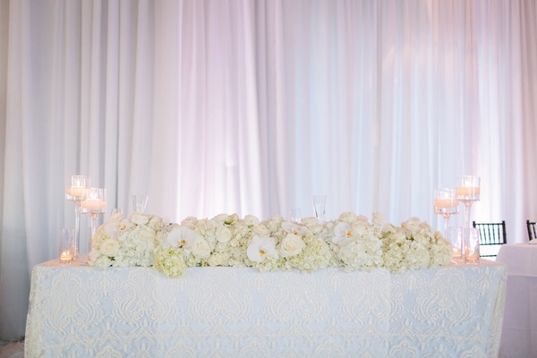 floral table runner, stemmed candle holders, all-white décor white drapery at wedding