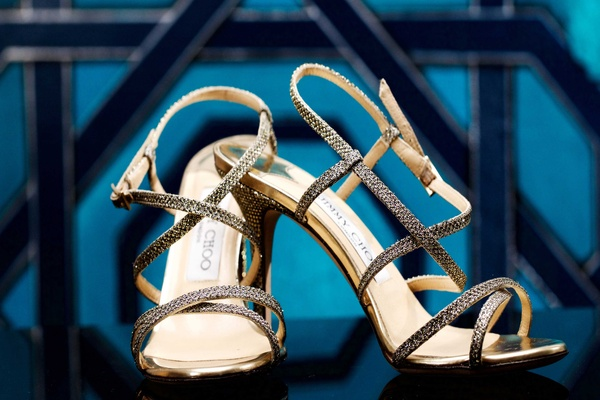 Jimmy Choo gold silver metallic shimmer wedding heels strappy style