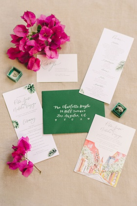 wedding invitation green envelope white calligraphy pink Bougainvillea watercolor design palm prints