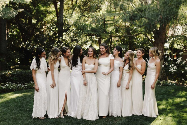 bridesmaids in mismatched ivory dresses halter spaghetti strap strapless white bridesmaid dresses