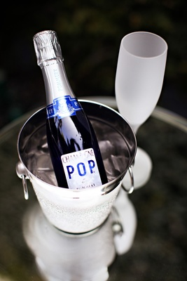 Champagne chiller bucket with frosted glass