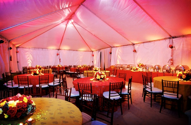 Tented reception with buffet table