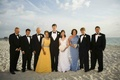 Family of bride and groom on Naples, Florida beach sand
