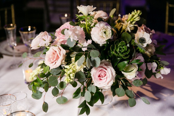wedding reception centerpiece greenery succulent eucalyptus pink roses ranunculus white anemone