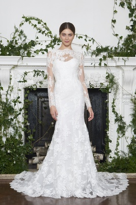 Monique Lhuillier Fall 2018 Illusion neckline and sleeves with Alençon lace matching details on gown