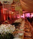 Long table with pink tablescape and gold details