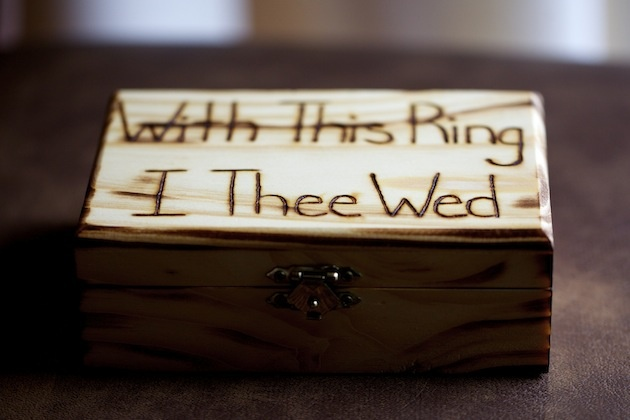 "Wood jewelry box carved ""With This Ring, I Thee Wed"""