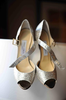 Silver peep-toe Jimmy Choo heels with ankle strap