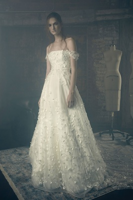 Sareh Nouri Fall 2018 wedding dress Emily bridal gown off shoulder flower embroidery applique