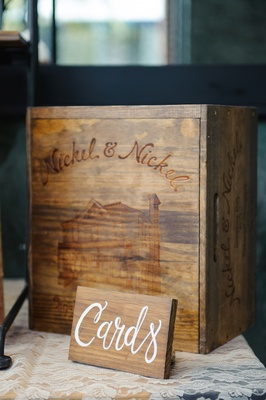 Wooden crate with etching of home for gifts and cards