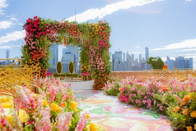 indian japanese wedding ceremony pink yellow orange flowers flower print aisle runner new york city