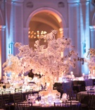 Wedding reception white centerpiece flowers at base winter wedding blue lighting