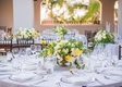 wedding reception white dahlia pink white rose flowers greenery footed vase white linen summer