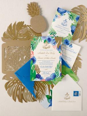Wedding invitation suite blue pink green gold color palette palm monstera leaf gold