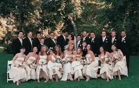 Groomsmen and bridesmaids including Danielle Fishel