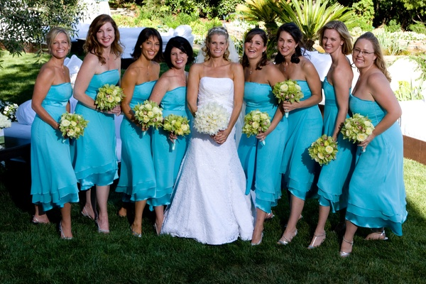 Outside portrait of bride and bridesmaids